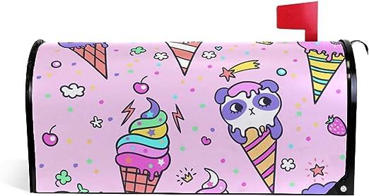ALARGE Cubierta magnética para buzón de alargen, Bonita Caja de cartón con patrón de Helado de Animales, para decoración del hogar, Arte: Amazon.es: Jardín