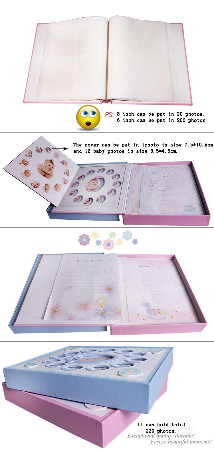 Child Baby Photo Album for Picture Hellow-out Album De Foto 200 Photos Blue/pink Kids Boys/girls 6/8inch Mixed Interleaf
