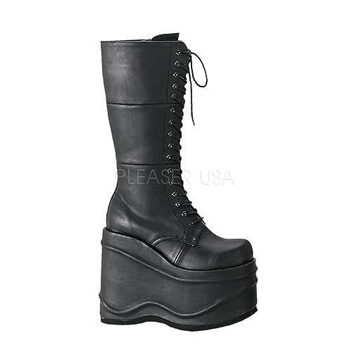 4d04da62c8d Demonia Women s 5 3 4 Inch Lace-Up Platform Knee Boot (Black PU