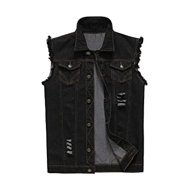 df101b2cfc1 NASKY Mens Fit Retro Ripped Demin Jeans Gilets Jacket Vest Waistcoat ...