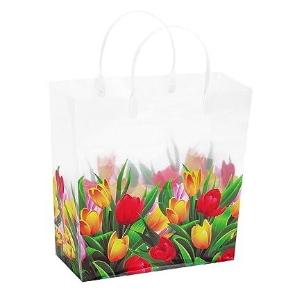 10 bolsas de regalo transparentes con asas,tamaño mediano,de ...
