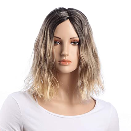 Corto ondulado BOB pelucas parte media Ombre negro y rubia Peluca Platinum estilo popular 14 pulgadas