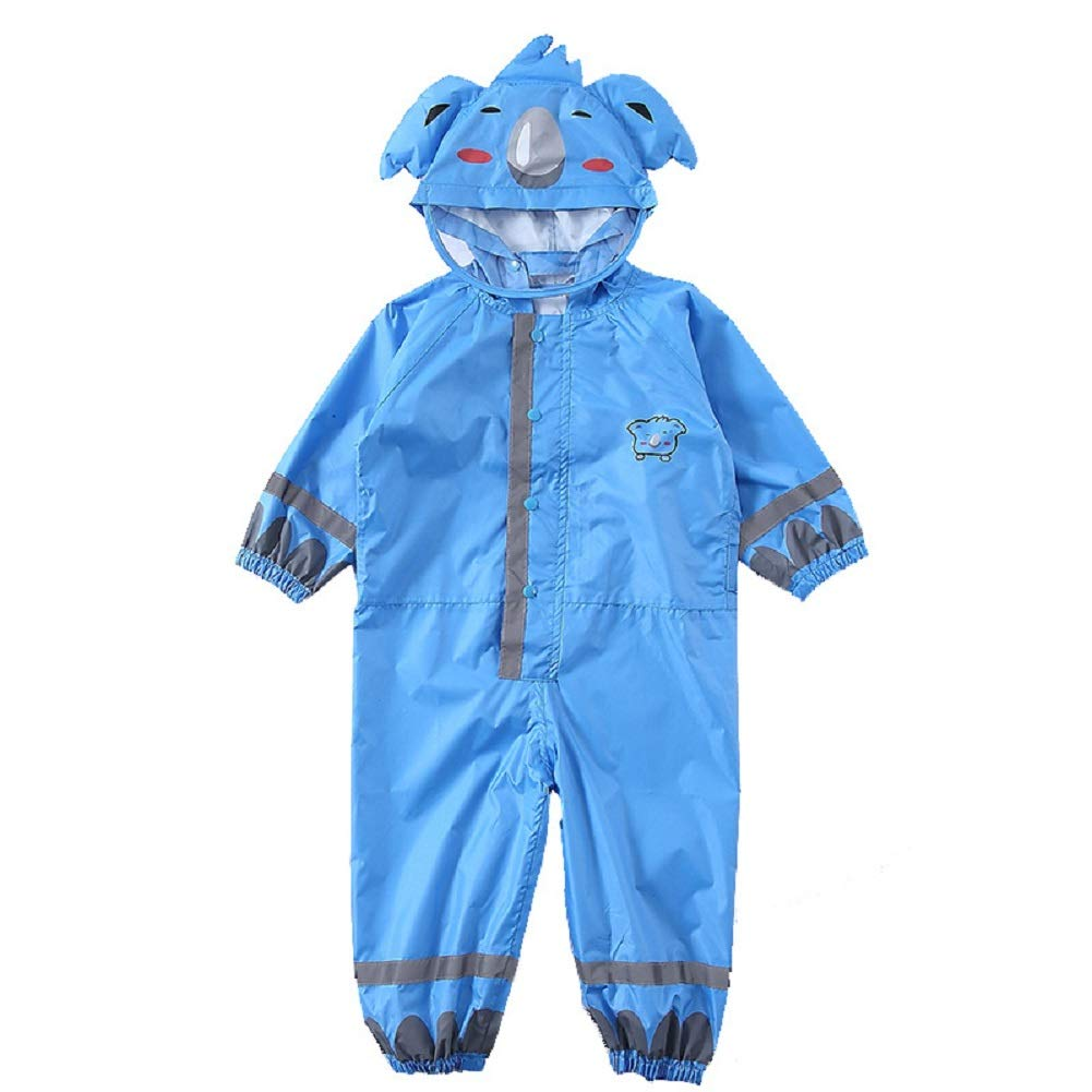 Spring Color Kids One-Piece Waterproof Rain Suit, Reflective Rain Coat Coverall, Outdoors Rain Suit(3-10 Years)