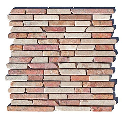 ST 434 Marmor Naturstein Stäbchen Mosaikfliesen Mediterran Rot Beige Weiß  Design Fliesen Lager Verkauf Stein Mosaik Herne NRW: Amazon.de: Baumarkt