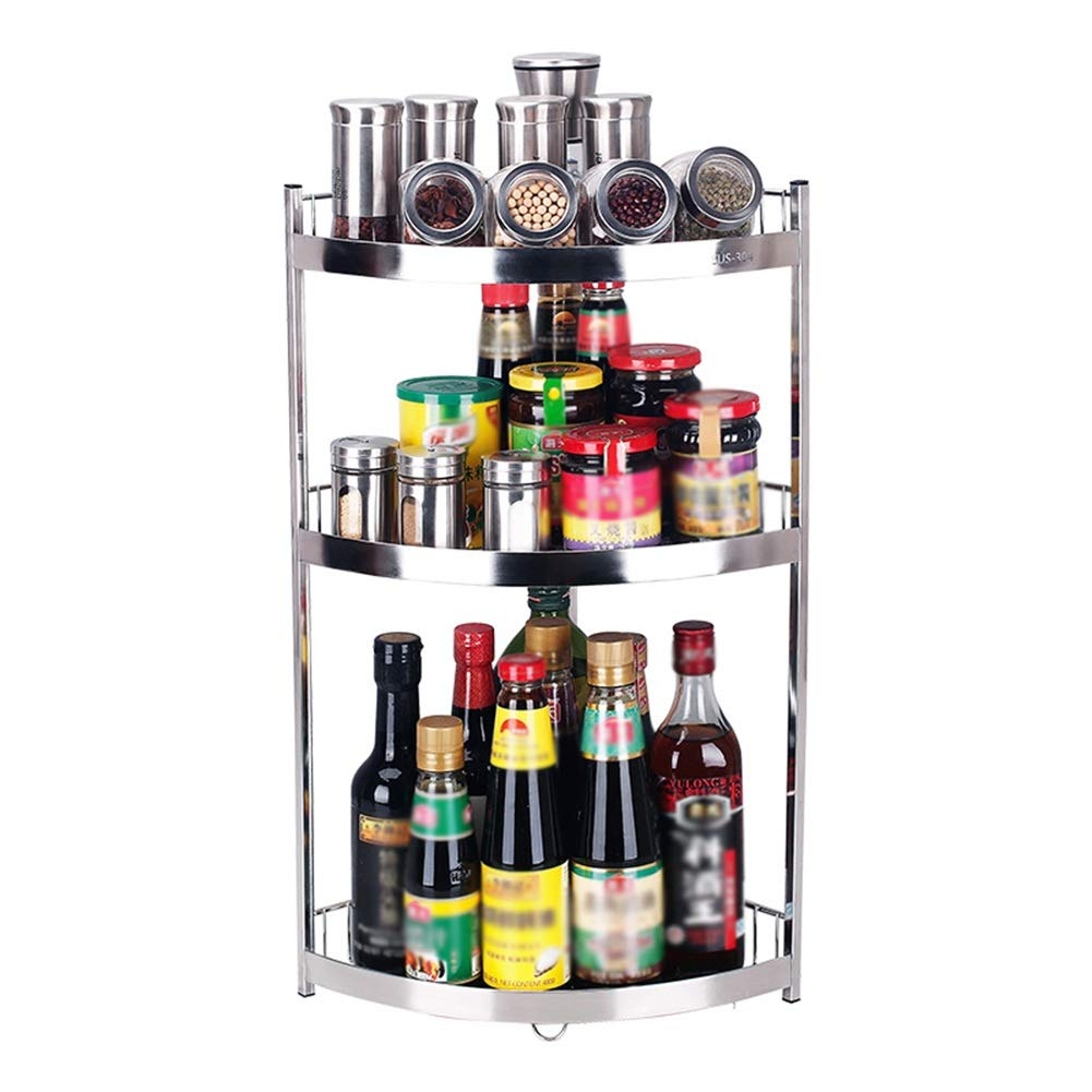Kitchen Storage Shelf Storage Racks Spice Rack Stainless Steel Corner Seasoning Rack Kitchen Storage Rack Pot Rack Holders ZHAOYONGLI (Size : Three Layers (Tripod)) by ZHAOYONGLI-shounajia (Image #1)