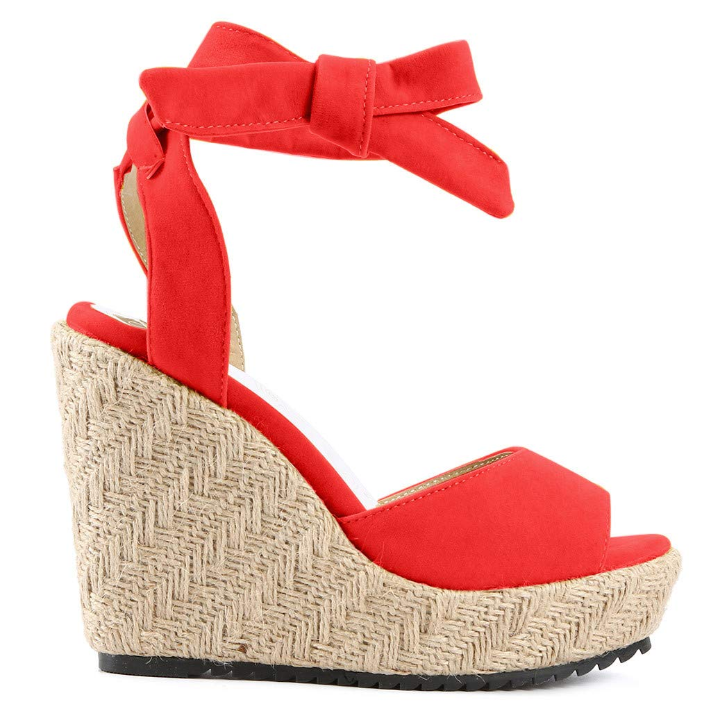 Platform Wedge Sandals for Women,Espadrille Open Toe Roman Ankle Strap Sandal