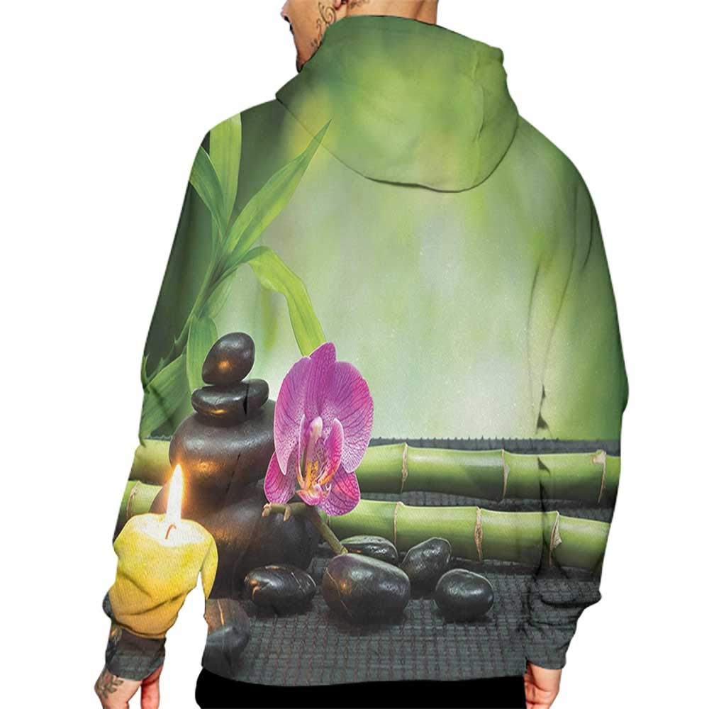 Hoodies Sweatshirt/Men 3D Print Spa,Orchid Bamboo Stems Chakra Stones Japanese Alternative with Feng Shui Elements,Apple Green Fuchsia Sweatshirts for Women Hoodie Pullover