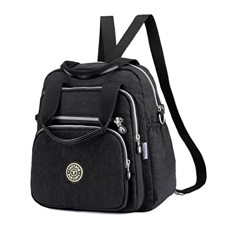 6f904d350c91 EasyHui Water Resistant Nylon Top Handle Bag Travel Backpack Large Capacity  Shoulder Bag Three Ways of Carrying for Women