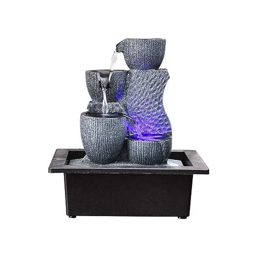 Simple geométrica pecera Adornos de Sala de Estar Cascada Fuente de Agua característica Craft Escritorio decoración Adornos (Color : A/24 * 18 * 26cm): ...
