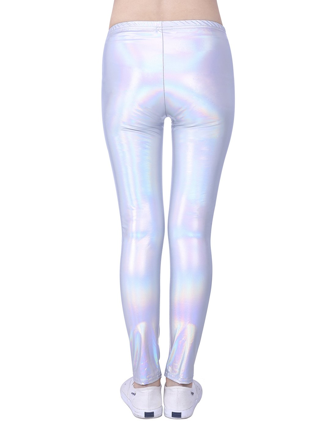 47a5428e98189 HDE Girls Shiny Wet Look Leggings Kids Liquid Metallic Footless Tights  (4T-12) larger image