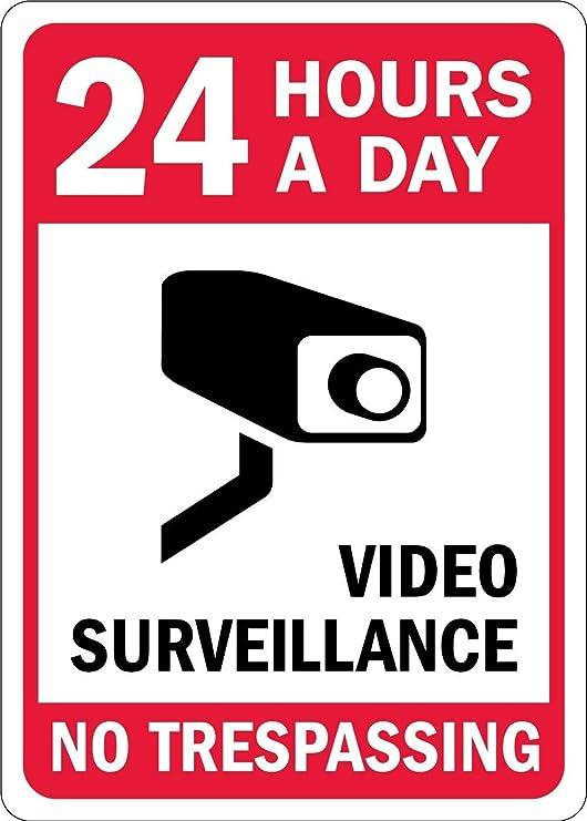 qidushop Señal Decorativa 24 Horas al día de la vigilancia ...