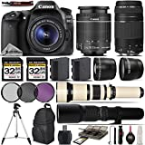 Canon EOS 80D Digital SLR Camera + Canon 18-55mm IS STM Lens + Canon 75-300mm Lens + 650-1300mm Zoom Lens + 500mm Telephoto Lens + 0.43X Wide Angle Lens + 2.2x Telephoto Lens - International Version
