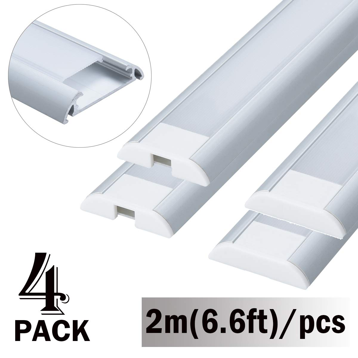 StarlandLed 4-Pack 2m/6.6FT LED Aluminum Channel Wide for LED Strip Double Row 5050,Fit for Philips Hue Lightstrip Plus 2nd Generation,Perfect for Task Under Cabinet Lighting