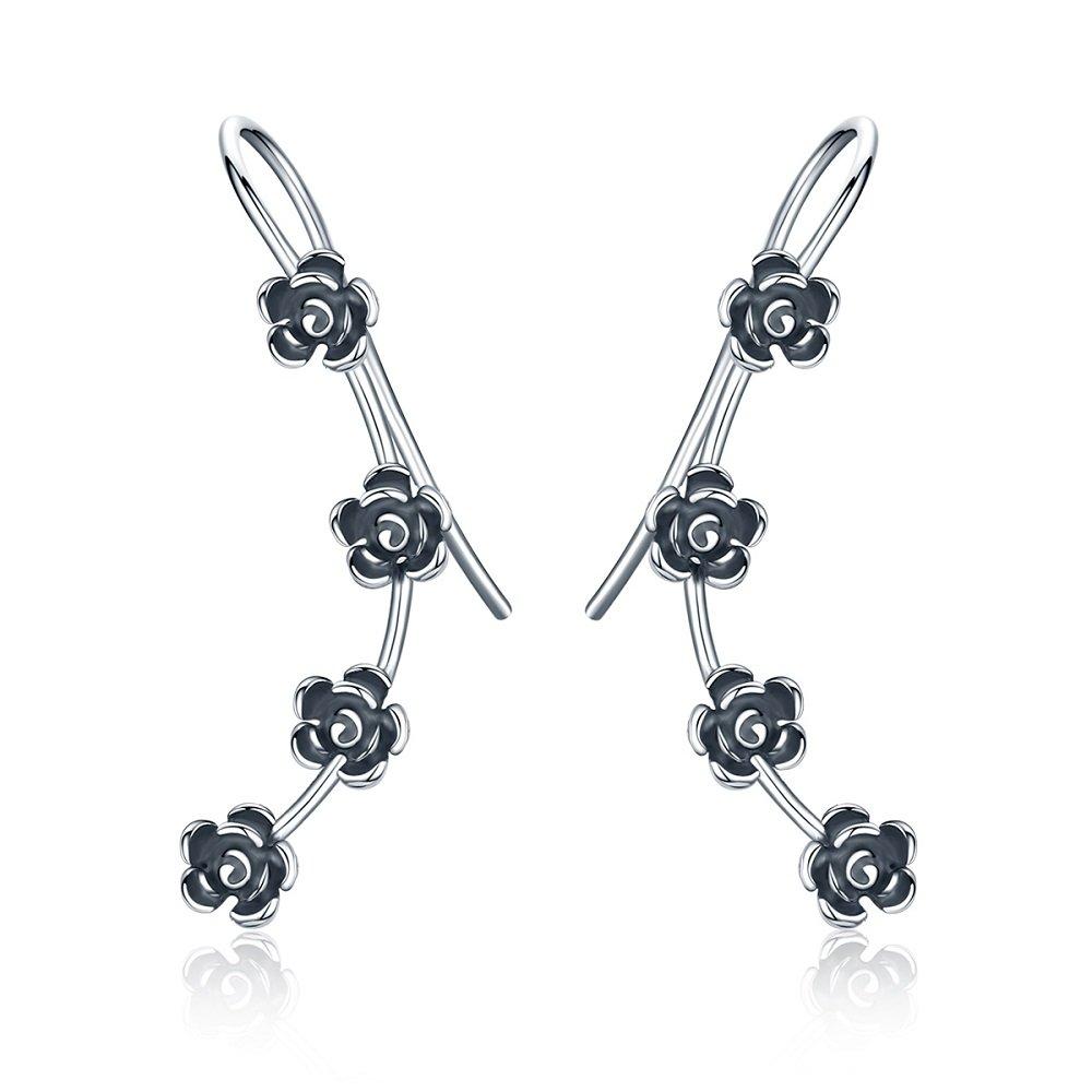 Vintage Rose Flower 925 Sterling Silver Ear Cuff Wrap Earrings for Women Girls Crawler Climber Piercing Hypoallergenic