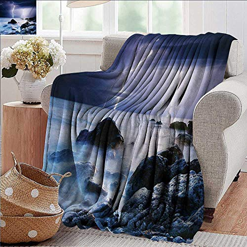 Blankets Fleece Blanket Throw,Nature,Summer Storm Beginning with Flash and Beams over the Rocky Coast Waves Mystic Image,Grey Purple,300GSM,Super Soft and Warm,Durable Throw Blanket 30