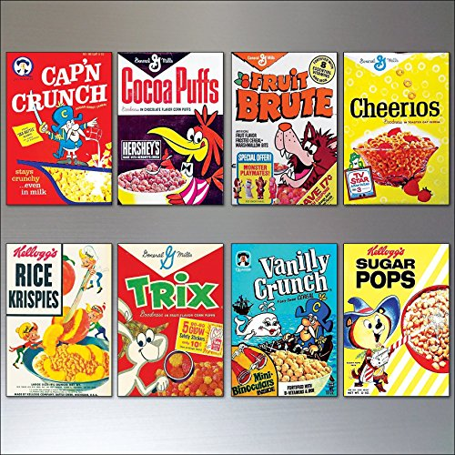 - Vintage Cereal Box Fridge Magnets set of 8 large Retro Reproduction Magnets No.2