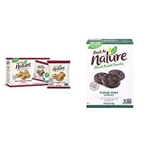 Back to Nature Cookies, Non-GMO Mini Chocolate Chunk, 6 Count & Cookies, Non-GMO Fudge Mint, 6.4 Ounce (Packaging May Vary)