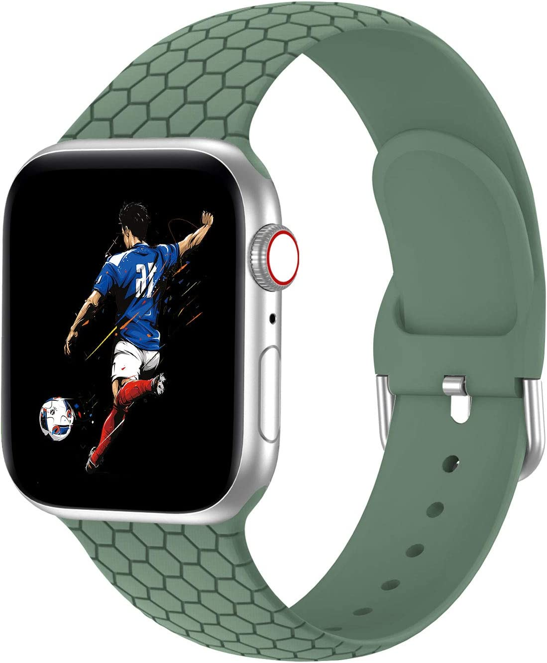Bandiction Sport Band Compatible with Apple Watch Band 38mm 40mm 42mm 44mm, Soft Breathable Women Men Sport Band Replacement Band Compatible for iWatch Series SE/6/5/4/3/2/1, Pine Green