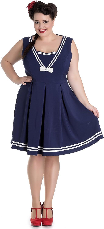 Sailor Dresses, Nautical Theme Dress, WW2 Dresses Hell Bunny Plus Size Kawaii Navy Sailor Nautical Love Mini Dress $75.00 AT vintagedancer.com