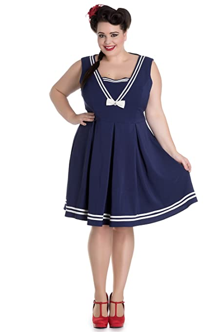1950s Plus Size Dresses, Swing Dresses Hell Bunny Plus Size Kawaii Navy Sailor Nautical Love Mini Dress $75.00 AT vintagedancer.com