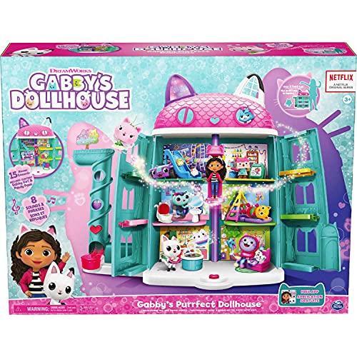 Casa de muñecas de Gabby Casa de muñecas Purrfect de 15 piezas con sonidos
