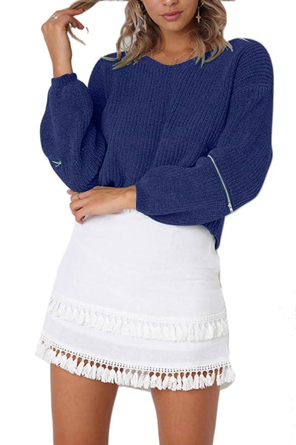 Fasumava Mujeres Tops De Punto Jerseys De Invierno Casual Solid Jersey con  Cremallera  Amazon.es  Ropa y accesorios e56c42601476