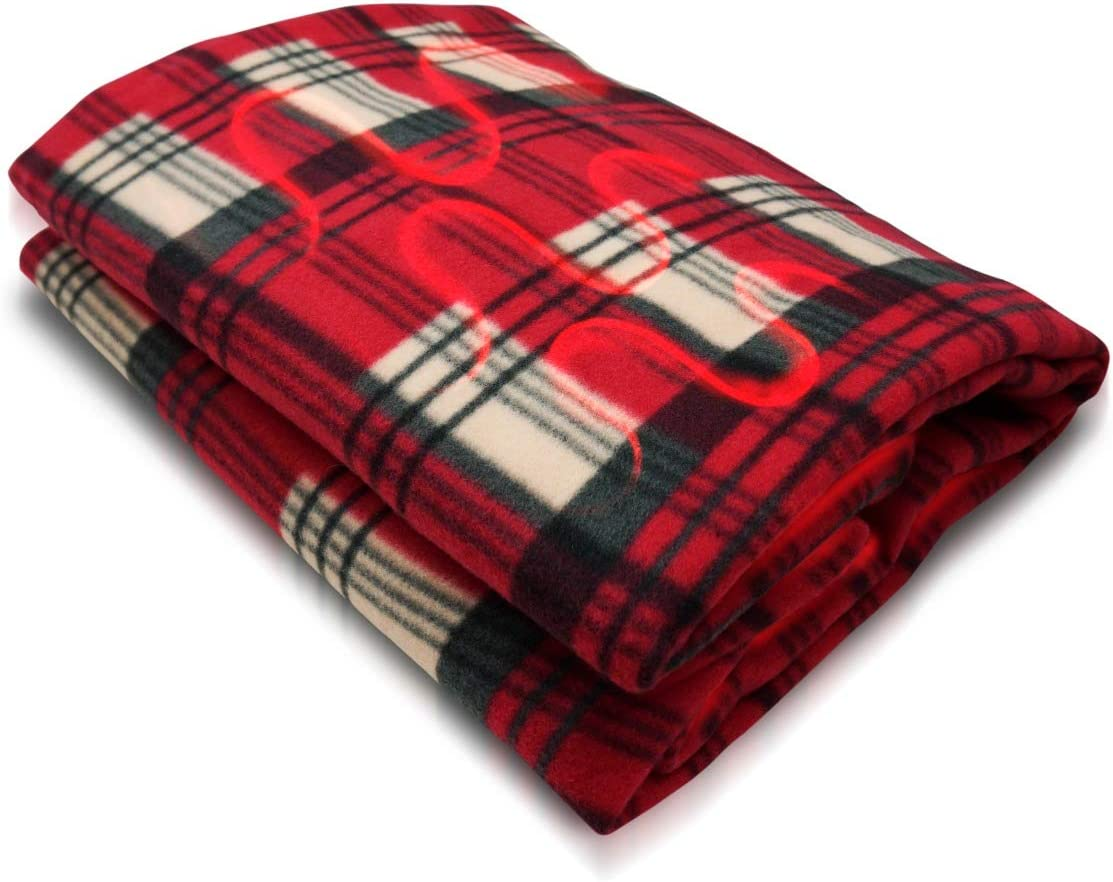 VaygWay Electric Heated Car Blanket – 12 Volt Fleece Travel Blanket – Throw for Car Truck RVs – Heating Blanket for Cold Weathers – Portable 12V Heated Throw Blanket – Plaid Red