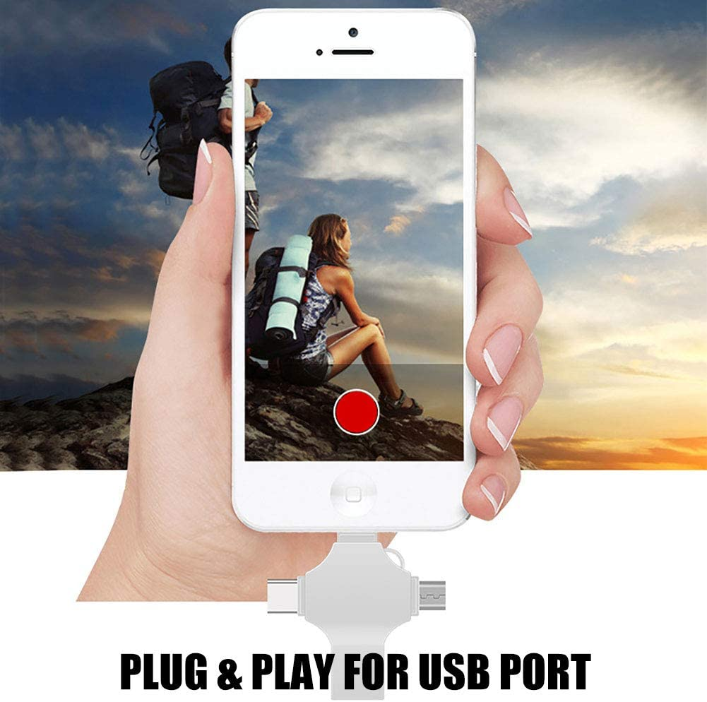 4 in 1 USB Flash Drive Android /& Trail Game Camera 128GB Tablets TF Micro SD Card Adapter External Storage Memory Expansion Helper for Cellphone PC OWIKAR Card Reader Laptop