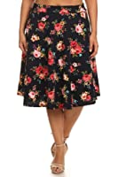 (Plus Size) Printed Knee Length Hem and Banded Waist A-Line skirt (MADE IN U.S.A)