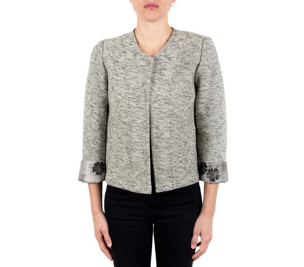 Knit Cardigan, Sweater, Jacket, Long Sleeve, Open Front, Wool, Silk, Casual, Woman, Girl, Black, Grey, Unique piece, fits USA size 8-10, Italian style, Italian fabric, Made in Italy, Handmade