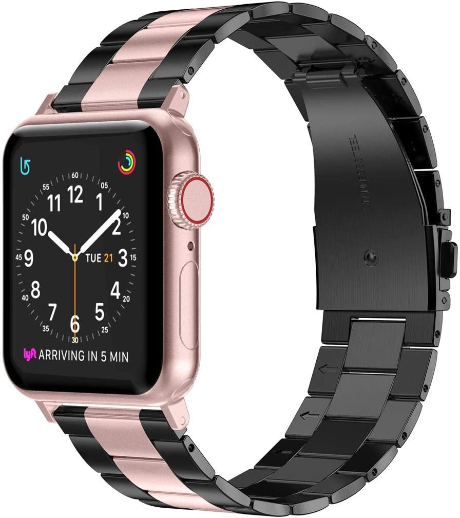 Wearlizer Stainless Steel Compatible with Apple Watch Band 38mm 42mm Women Men,Ultra-Thin Lightweight Replacement Band Strap Compatible for iWatch Bands Series 6 5 4 3 2 1 (Black+Rose Gold, 42mm 44mm)