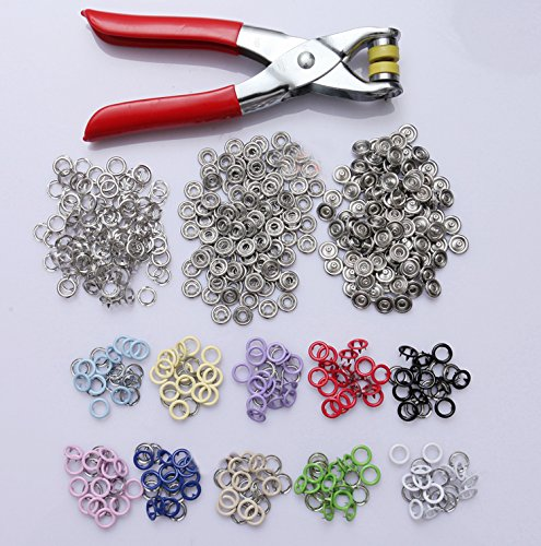 200 Sets of 9.5mm Hollow Color Buckle Metal Snap Button with Five Claws 10 Color + Installation Tools - Plastic Buttons Metal