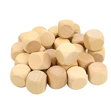 Jeteho 25 Pcs Blank Wood Dice Cubes 25mm Write On Unfinished Plain Square Wooden Blocks Game Dice For Crafts Puzzle Making Painting Kids