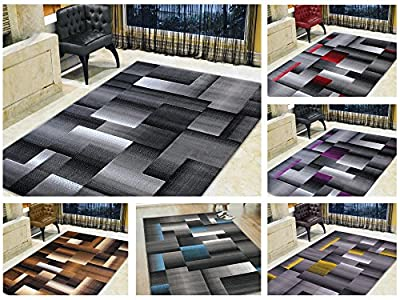 Handcraft Abstract Geometric Modern Squares Pattern Area Rug
