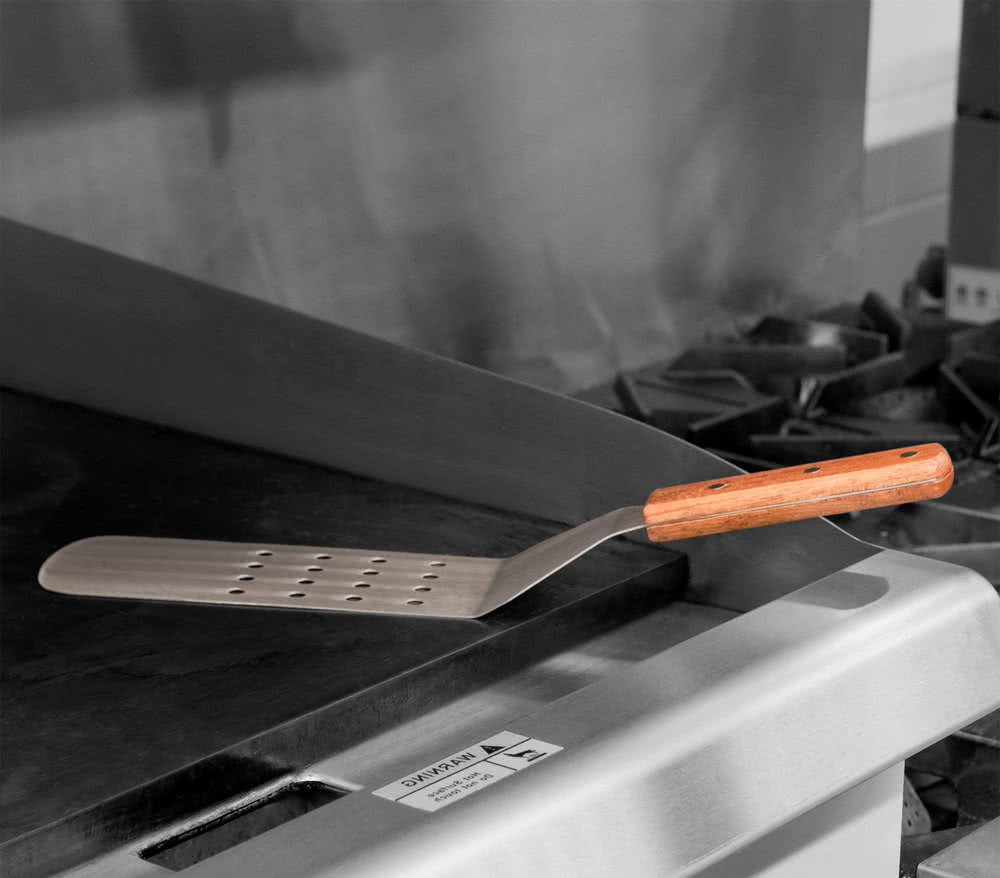 Stainless Steel Flexible Blade Turner for Griddle Grill by Tezzorio 8 x 3 Perforated Blade Turner Spatula with Wooden Handle