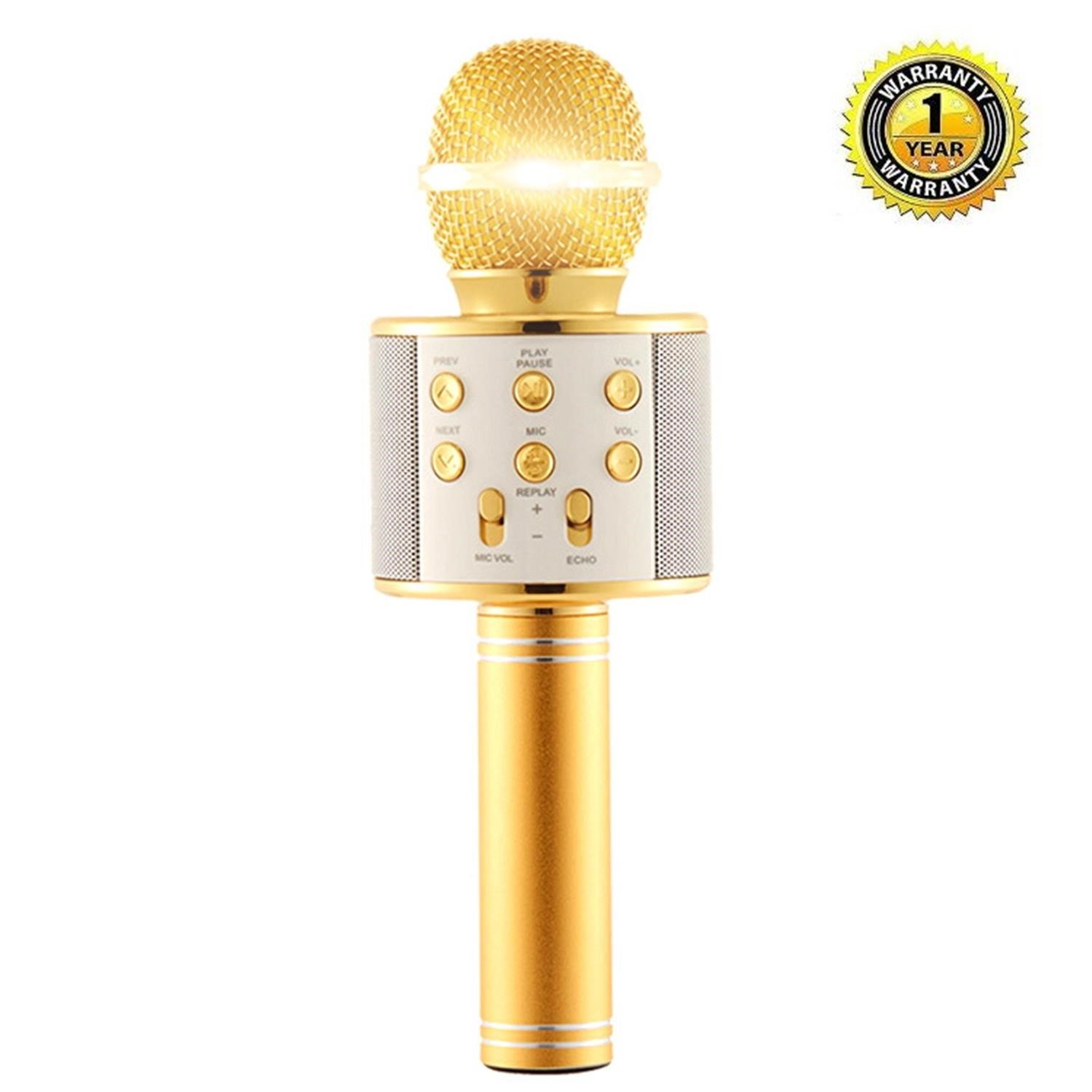 Karaoke Microphone Wireless with Bluetooth Speaker for iPhone Android PC Smartphone Portable Handheld Microphone for Singing Recording Interviews or Kids Home KTV Party - Light Golden