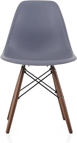 CozyBlock Molded Plastic Dining Shell Chair Walnut Wood Eiffel Legs
