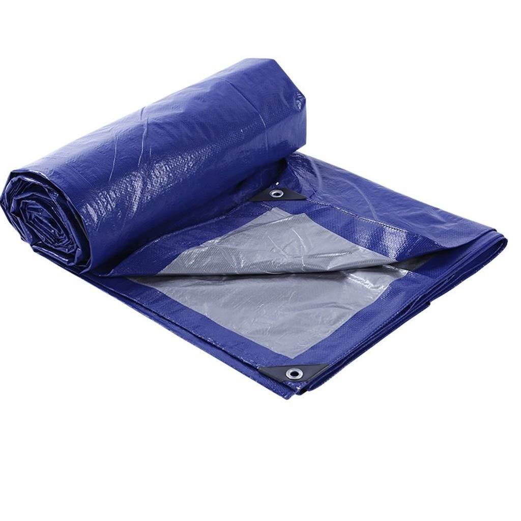 WSGZH Blau + Silber Wasserdichte Leinwand Plane Wasserdichte Sonnencreme Leinwand Dreirad Markise Wasserdichte Tuch Plane, Dicke 0,25 Mm, 120 G   M2, 10 Größenoptionen