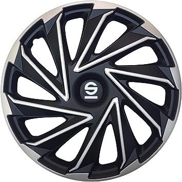 Sparco Spc1680svbk Satz Radzierblenden Varese 16 Zoll Silber Schwarz Auto
