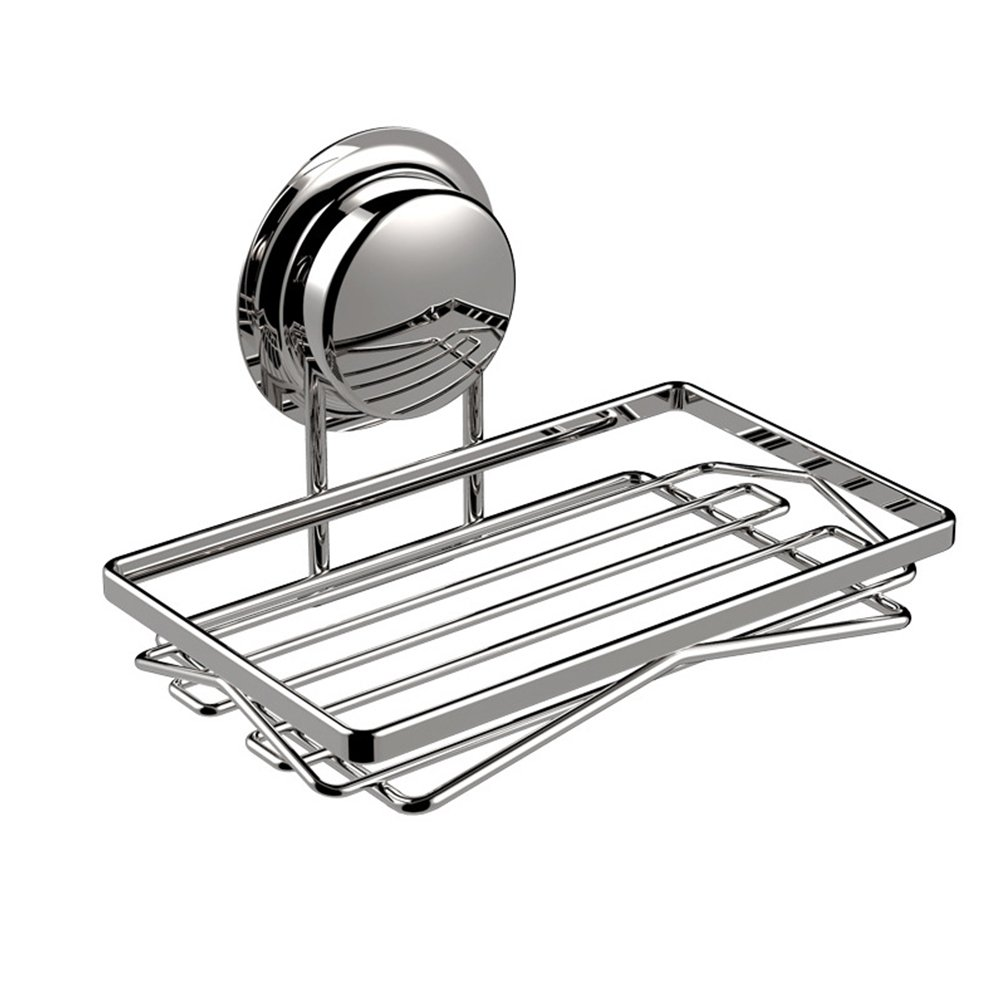 Amyove Soap Holder Creative Kitchen Bathroom Stainless Steel Soap Holder Wall Shelves Storage Soap Suction Cup Basket Silver
