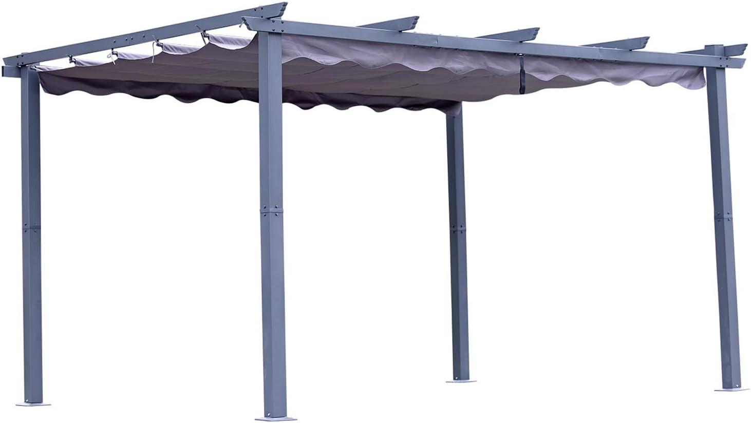 Angel Living [Actualizado] Pérgola de Aluminio con Techo Retráctil, Pabellón con Diseño Elegante, Cenador con Tela de Poliéster Resistente al Agua y a UV, Uso para el Exterior (3 x 4, Gris)