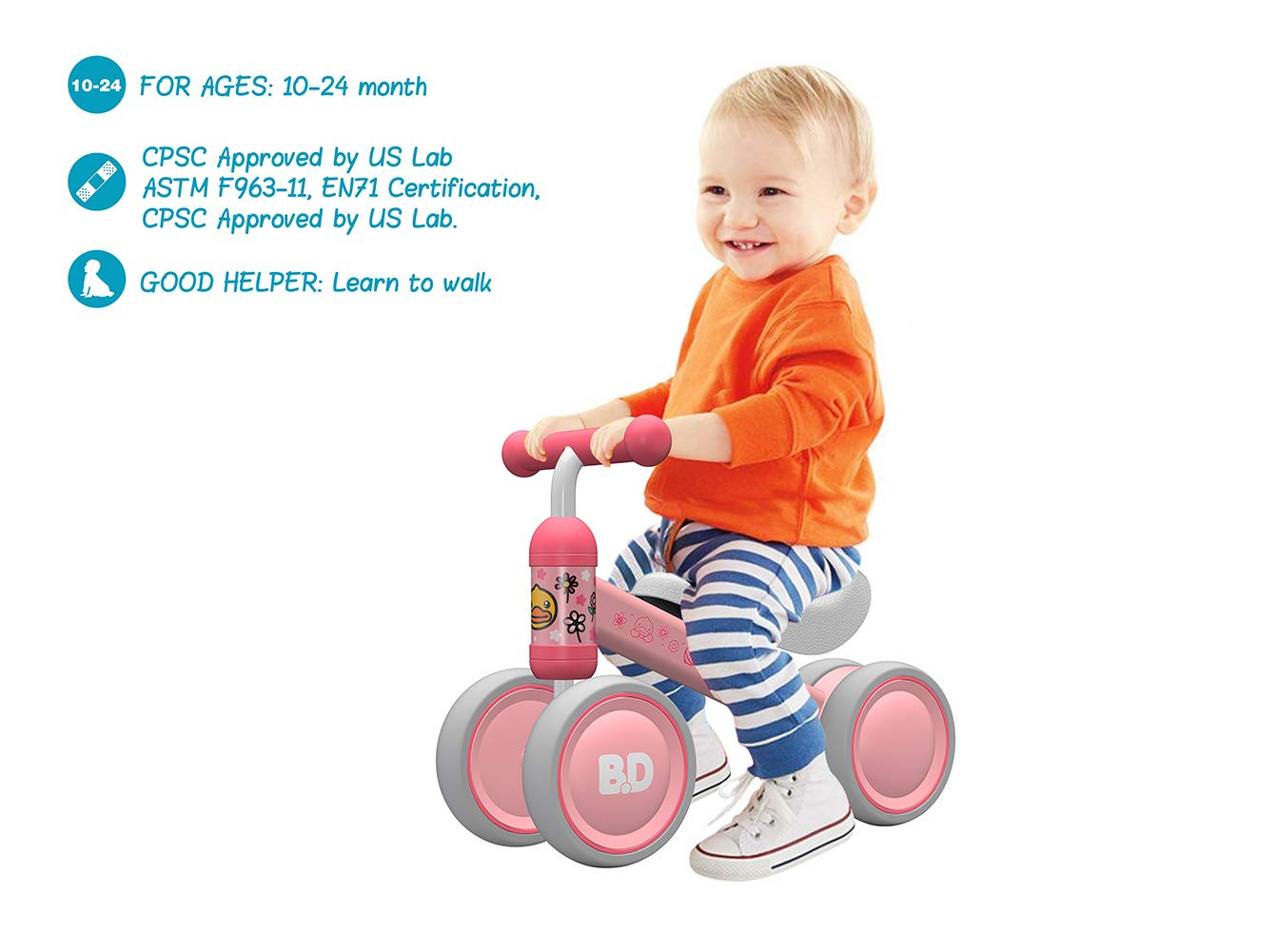 Baby Toddler Tricycle Bike No Pedals 10-24 Months Ride-on Toys Indoor Outdoor for 1 Year Old Boys Girls First Birthday Thanksgiving Chrismas (Pink Duck)