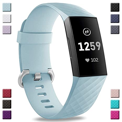 Hamile Bands Compatible with Fitbit Charge 3, Waterproof Replacement Watch  Strap Fitness Sport Band Wristband for Fitbit Charge 3 & Charge 3 SE, Women