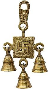 Athizay Navratri Diwali Pooja door decor Hanging Bells Swastika Brass Wall Hangings Temple decoration Decorative Bell (Gold, Brass)