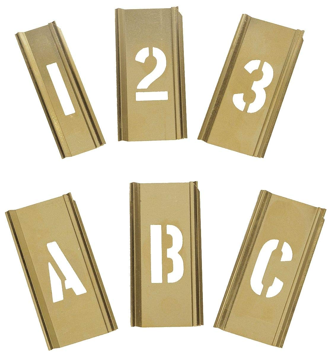 Interlocking Stencil, Letters and Numbers, 1'', Brass, 1 EA - 3W647 by Top Brand (Image #1)