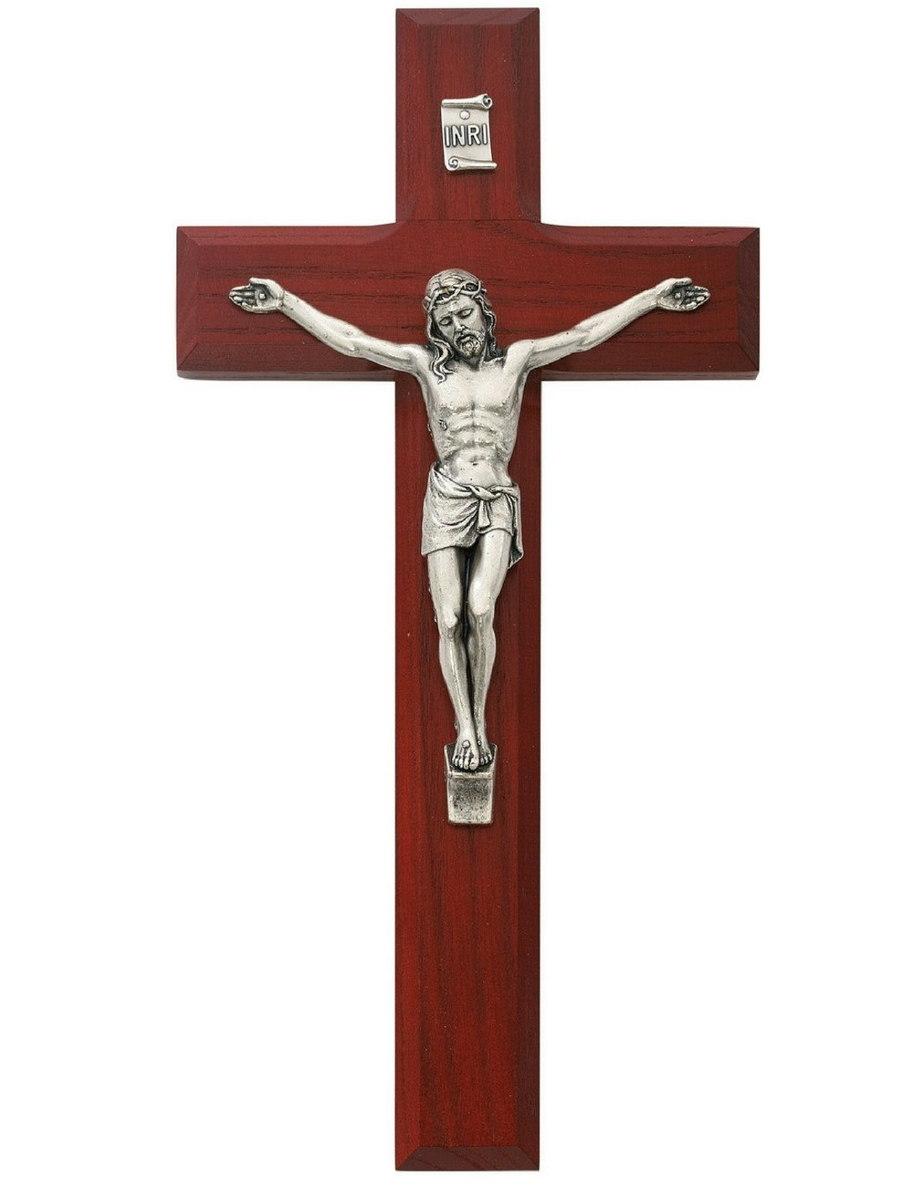 All Patron Saints Beveled Cherry Wood Wall Crucifix Cross with Silver Color Corpus and INRI 8 Inches