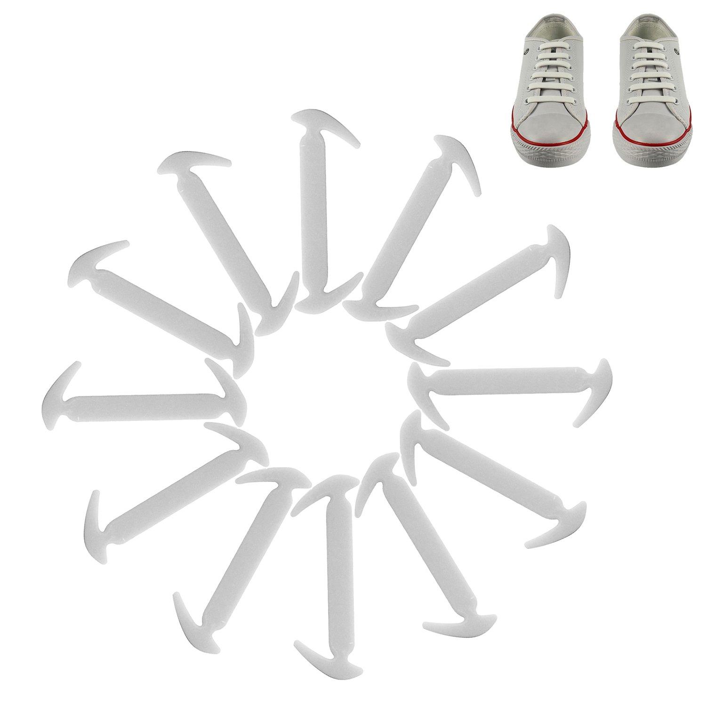 12 pcゴムTie靴レースSilconeスニーカー靴紐なし子供大人 B07236JC53  ホワイト