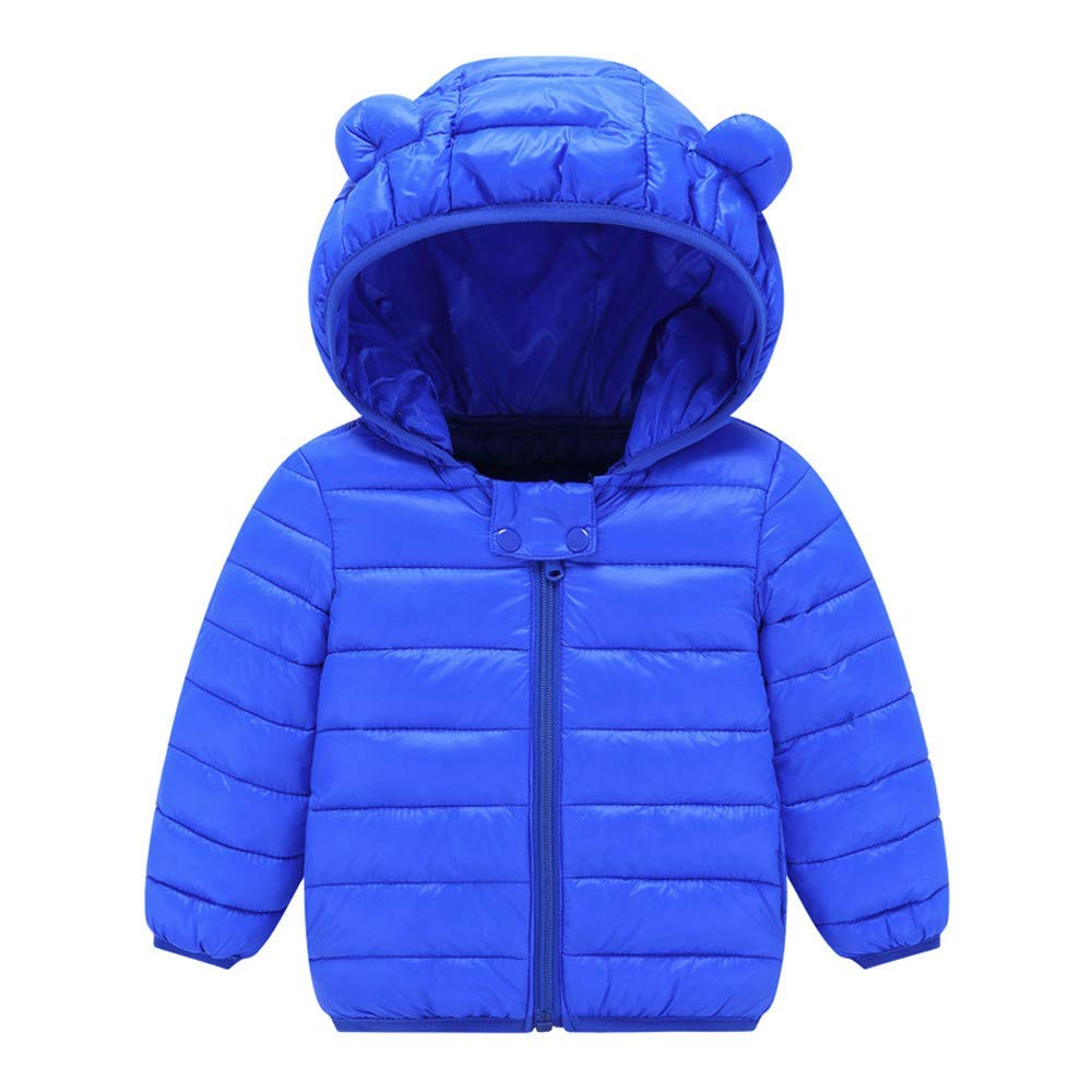 Toddlers Dolwins Kids with Hoods Ears Snow Light Puffer for Baby Boys Girls Infants