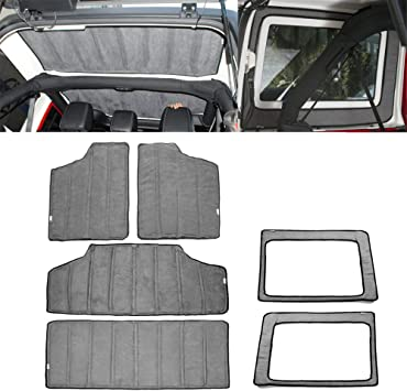Black YOCTM For Jeep Wrangler JK Headliner Hardtop Insulation 4 Door 2012-2017 Rear Window and Ceiling Roof Heat Insulation Cotton Kit Car Styling Accessories