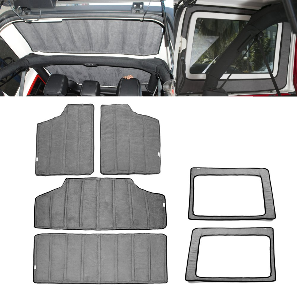 YOCTM for Jeep Wrangler JK Headliner Hardtop Insulation 4 Door 2012-2017 Rear Window and Ceiling Roof Heat Insulation Cotton Kit Car Styling Accessories (Gray)